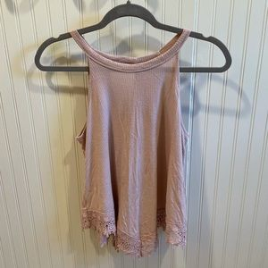 Pink Rose Tank with Lace